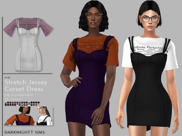 The Sims Resource: Stretch Jersey Corset Dress by DarkNighTt