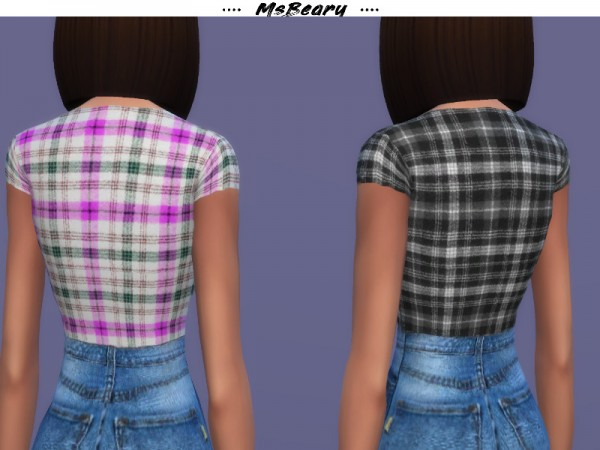 The Sims Resource: Plaid U cut Top by MsBeary