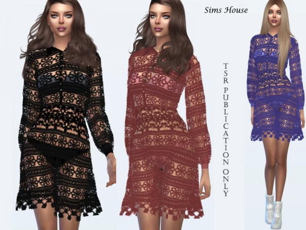 The Sims Resource: Long sleeve lace dress by Sims House