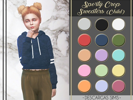 Descargas Sims: Sporty Crop Sweaters (Child)