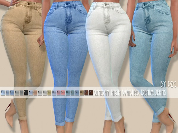 The Sims Resource: Sunday High Waisted Denim Jeans by Pinkzombiecupcakes