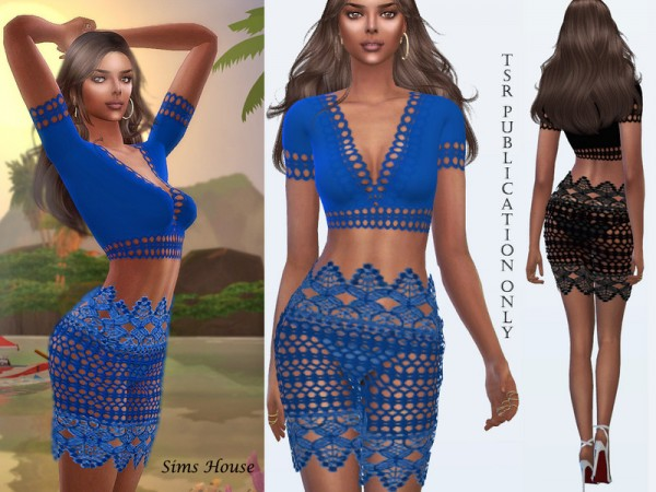 The Sims Resource: Lace top and boho style skirt by Sims House