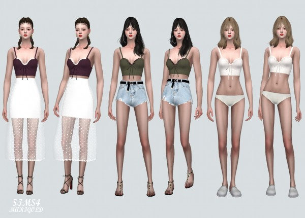 SIMS4 Marigold: Ribbon Lace Bustier