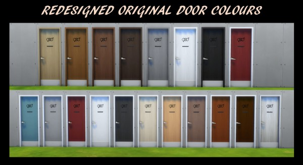 Mod The Sims: 54 Gender Neutral Bathroom Doors by Simmiller