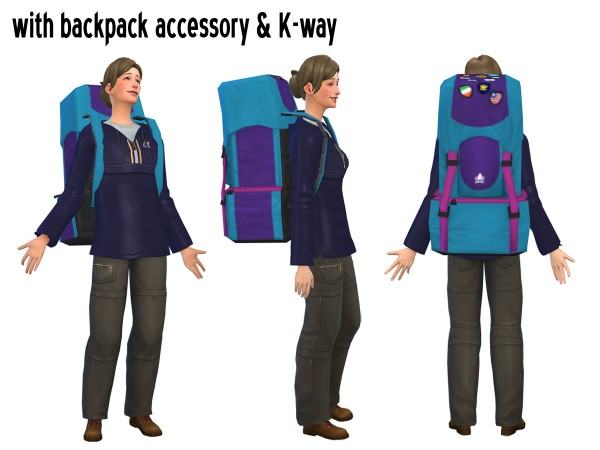 Around The Sims 4: K Way windbreaker and backpack accessory