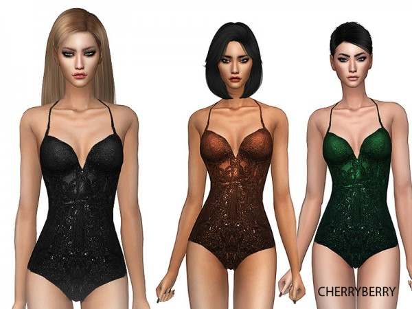 The Sims Resource: Give In   Bodysuit by CherryBerrySim