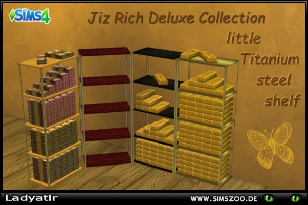 Blackys Sims 4 Zoo: Rich Deluxe Collection Little Titanium Steel Shelf by ladyatir