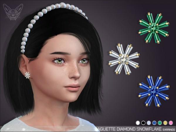 Giulietta Sims: Baguette Diamond Snowflake Earrings For Kids