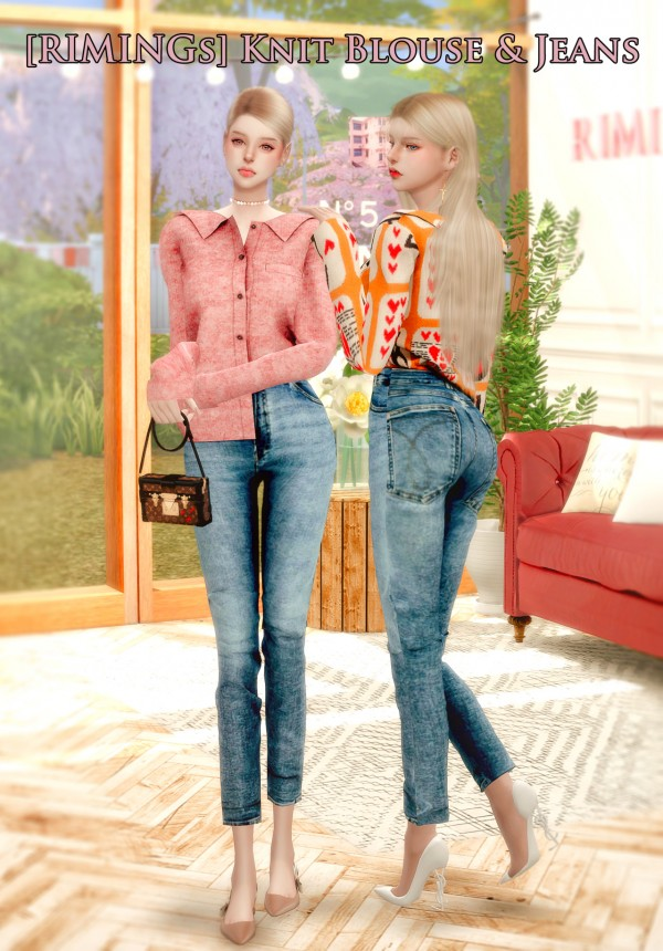 Rimings: Knit Blouse and Jeans