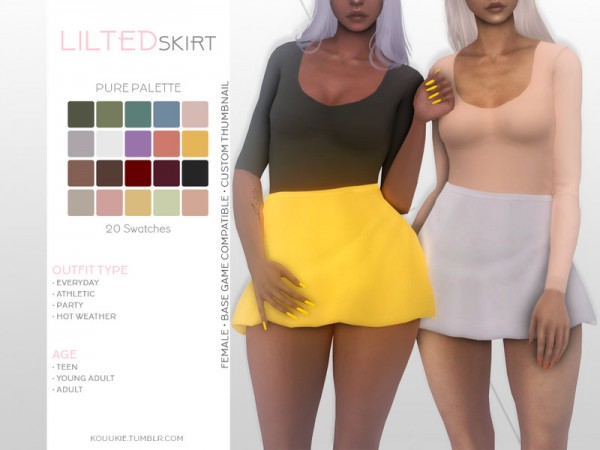 The Sims Resource: Lilted Skirt by Kouukie