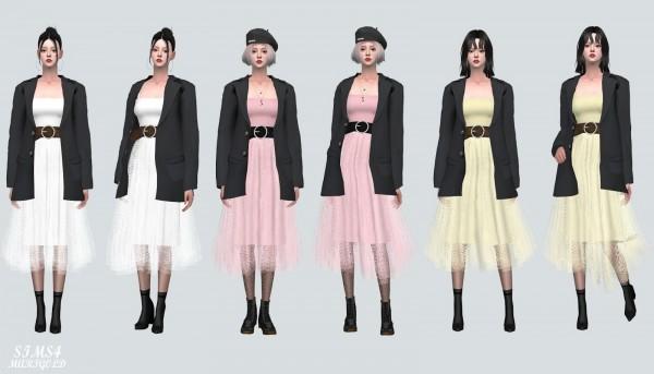 SIMS4 Marigold: Ballerina Long Dress With Jacket