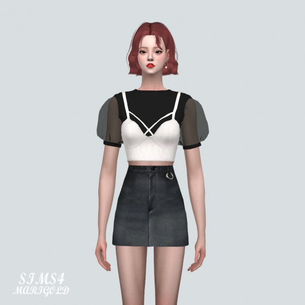 SIMS4 Marigold: See through Puff Sleeves Bustier Top