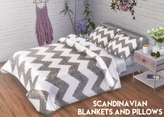 Descargas Sims: Scandinavian Blankets and Pillows