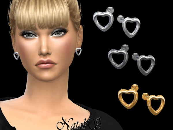 The Sims Resource: Open heart stud earrings by NataliS