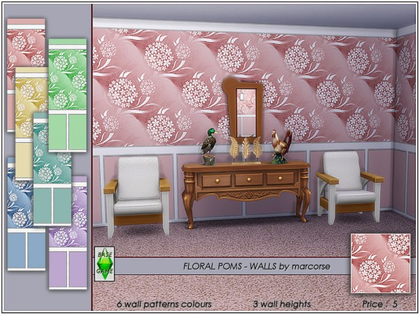 The Sims Resource: Floral Poms   Walls by marcorse