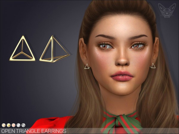 The Sims Resource: Open Triangle Earrings by feyona
