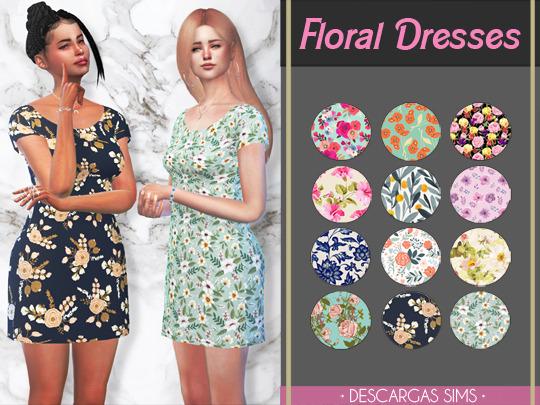 Descargas Sims: Floral Dresses