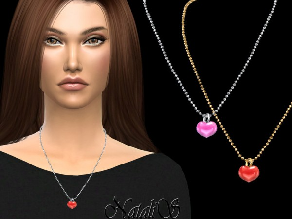 The Sims Resource: Enamel heart pendant by NataliS