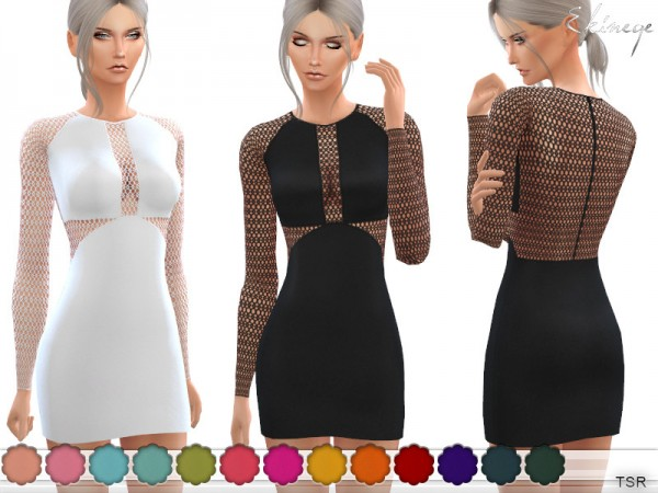 The Sims Resource: Lace Panel Mini Dress by ekinege