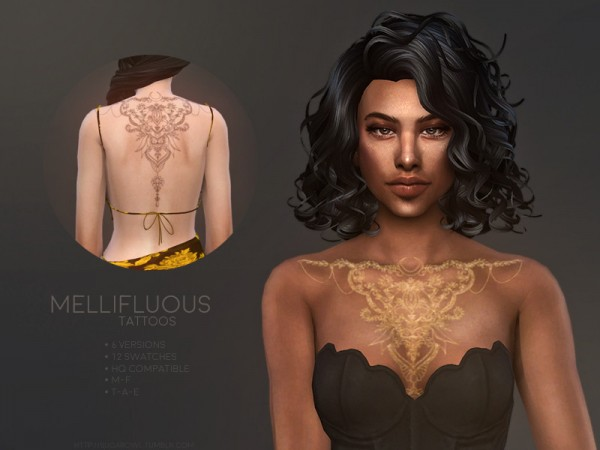 The Sims Resource: Mellifluous tattoos by sugar owl