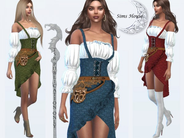 The Sims Resource: Costume magicians   Blouse and strap dress by Sims House