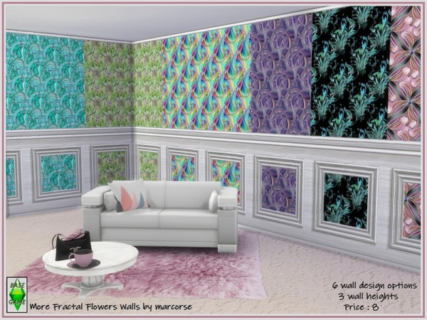 The Sims Resource: More Fractal Flower Walls by marcorse