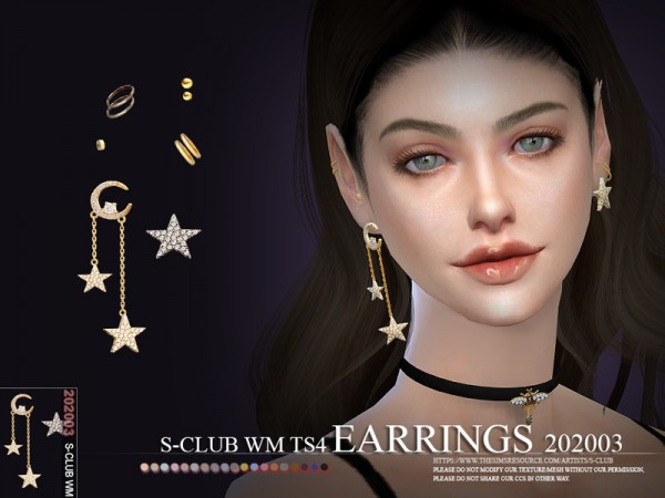 The Sims Resource: EARRINGS WM 202003 by S Club