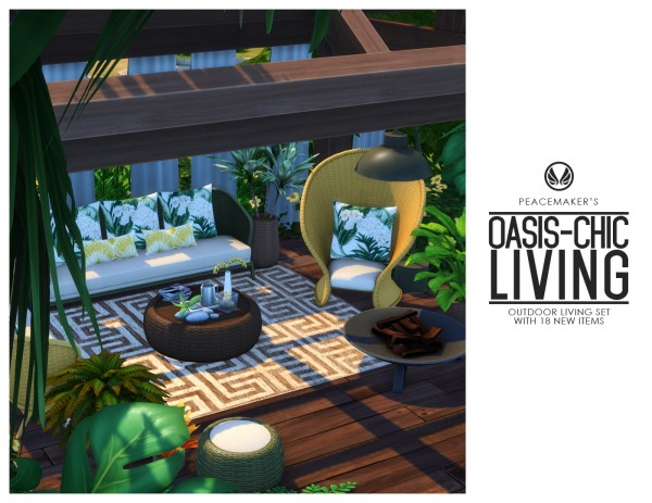 Simsational designs: Oasis Chic Living   Outdoor Wicker Living Set with 18 Objects