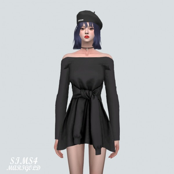 SIMS4 Marigold: TT Off Shoulder Sporty Mini Dress