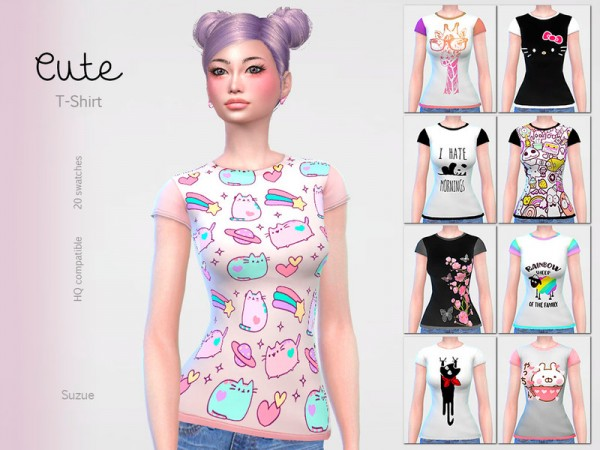 The Sims Resource: Cute T Shirt by Suzue