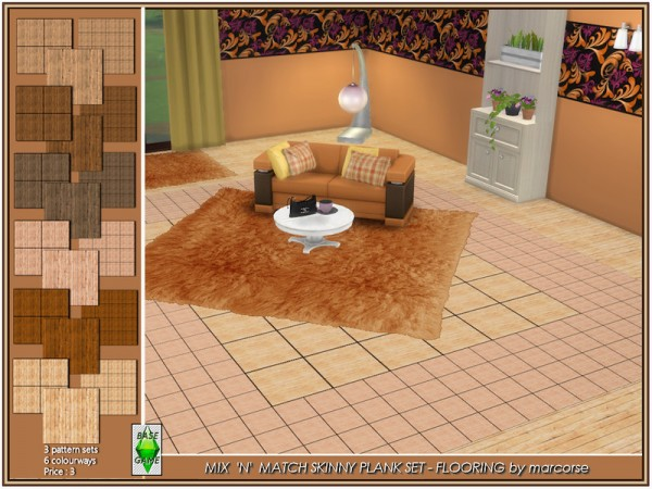 The Sims Resource: Mix n Match Skinny Plank   Flooring by marcorse