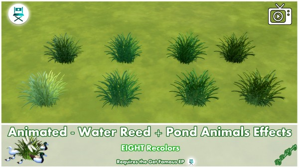 Mod The Sims: Animated   Water Reed + Pond Animals Effects by Bakie