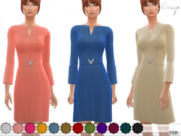 The Sims Resource: Embellished Belted Mini Dress by ekinege