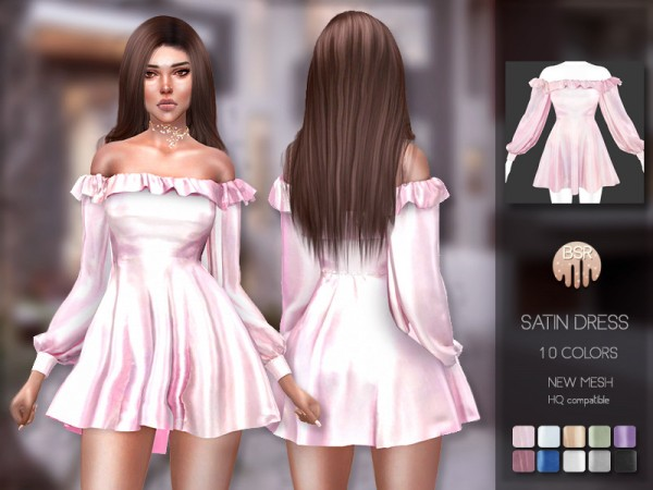 The Sims Resource: Satin Dress BD203 by busra tr