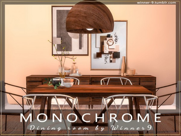 The Sims Resource: Monochrome Dining Room by Winner9