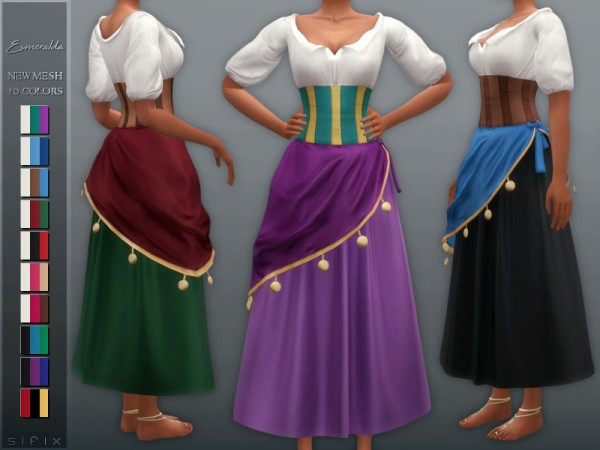 The Sims Resource: Esmeralda Outfit by Sifix