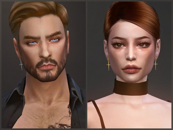 The Sims Resource: Redemption earrings by sugar owl