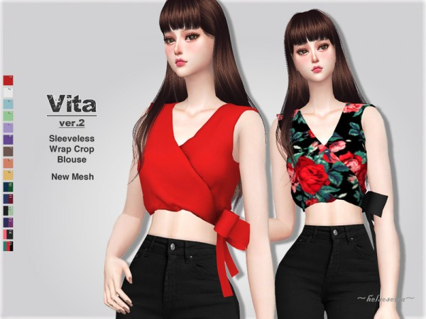 The Sims Resource: VITA   Ver.2   Wrap Blouse by Helsoseira