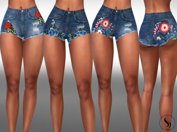 The Sims Resource: Floral Mix Ripped Mini Shorts by Saliwa