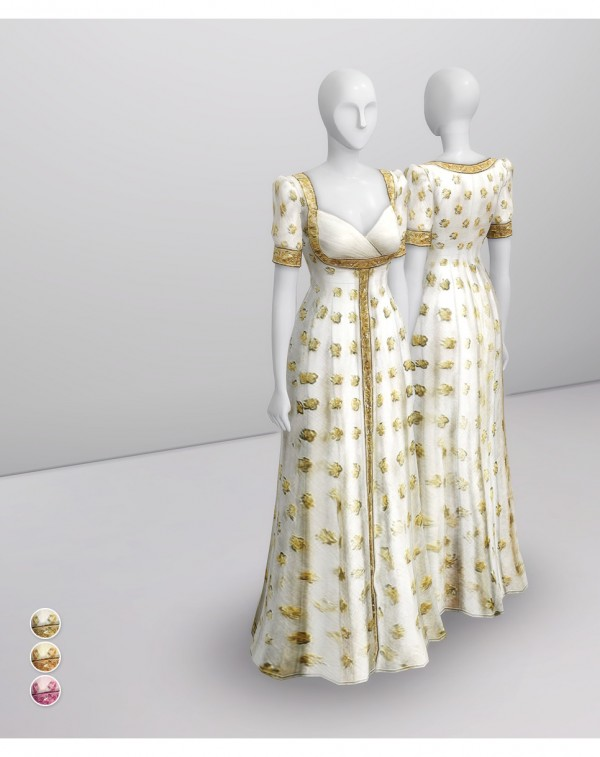 Rusty Nail: Gold Embroidered White Gown
