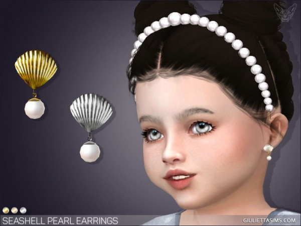 Giulietta Sims: Seashell Pearl Earrings For Toddlers