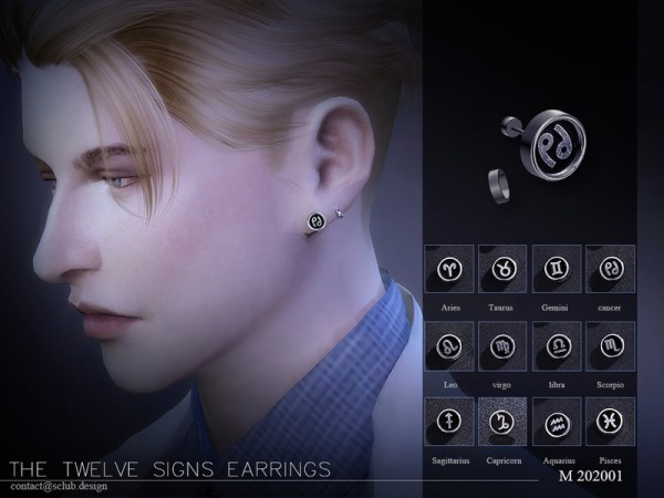 The Sims Resource: Earrings Men 202001 by S Club