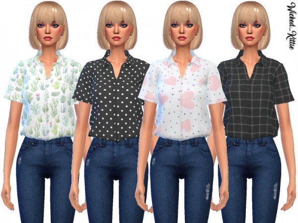 The Sims Resource: Daisy Tucked Shirts by Wicked Kittie