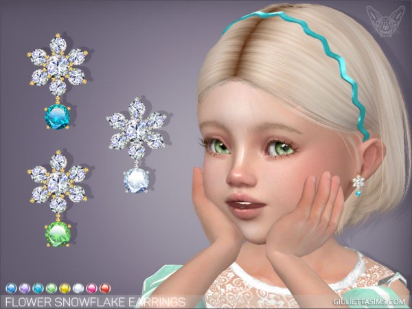 Giulietta Sims: Flower Snowflake Earrings For Toddlers