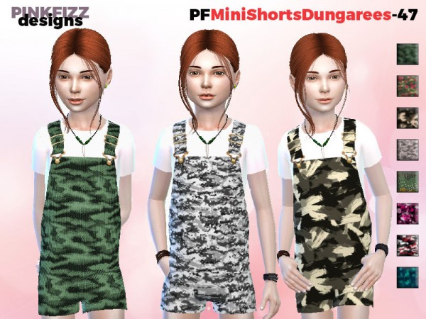 The Sims Resource: Mini Short Dungarees by Pinkfizzzzz