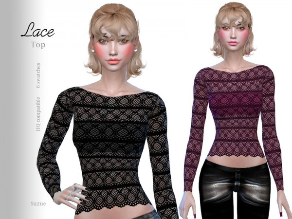 The Sims Resource: Lace Top by Suzue