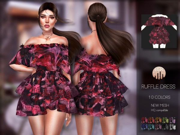 The Sims Resource: Ruffle Dress BD200 by busra tr