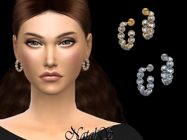 The Sims Resource: Open crystal hoop earrings by NataliS