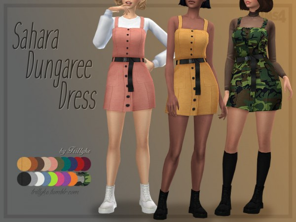 The Sims Resource: Sahara Dungaree Dress by Trillyke