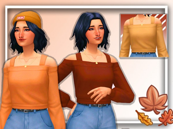 The Sims Resource: Missing Autumn Cropped Sweater by Realplumbie
